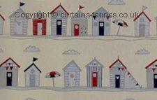 BEACH HUTS fabric by FRYETTS FABRICS
