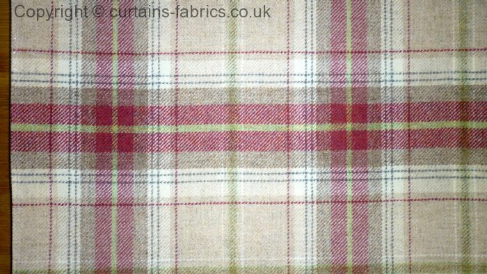Balmoral By Chess Designs In Raspberry Curtain Fabric