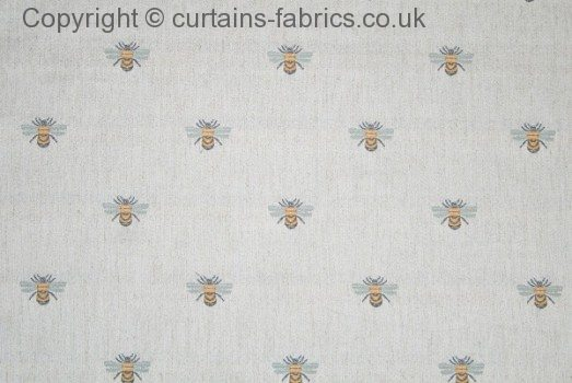 Bee By Chess Designs In Gold Curtain Fabric