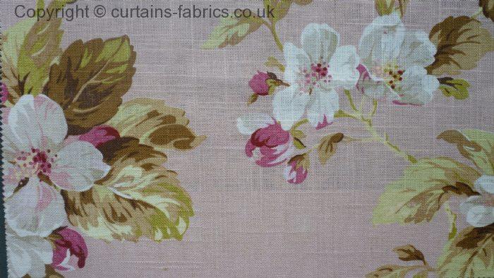 Agatha Soft Linen By Edinburgh Weavers In Coral Curtain Fabric