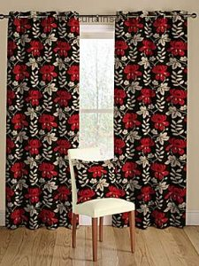 MIMOSA EYELET CURTAINS BLACK ----out of stock---- fabric by MONTGOMERY INTERIORS