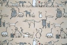 CAT & MOUSE fabric by CHESS DESIGNS