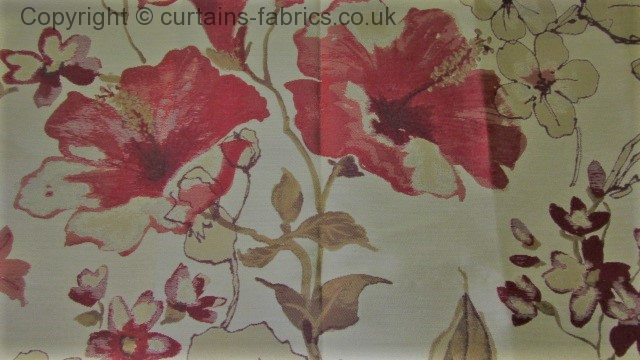 Camellia By Belfield Furnishings In Red Curtain Fabric