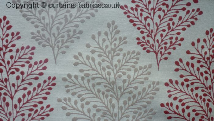 Bracken Leaf By Curtain Express In Red Curtain Fabric