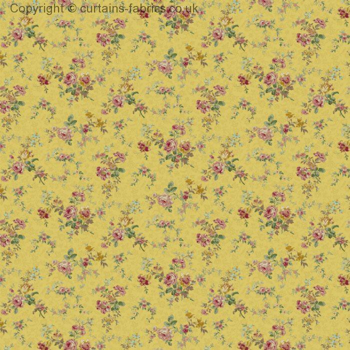Antique Rose By Edinburgh Weavers In Mustard Curtain Fabric