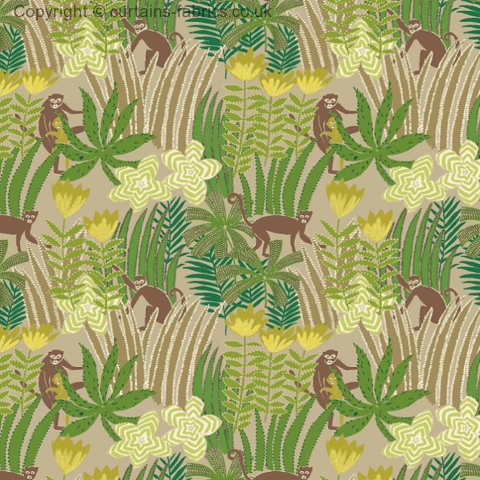 Jungle By Edinburgh Weavers In Emerald Curtain Fabric