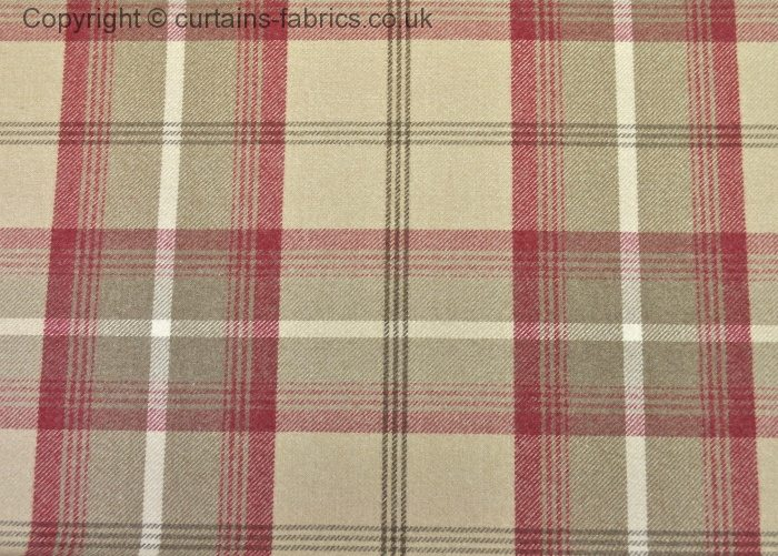 BALMORAL CHART A By PORTER STONE In CRANBERRY Curtain Fabric