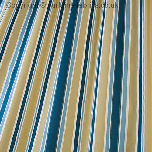 Beach Stripe By Iliv Interior Textiles In Teal Curtain Fabric